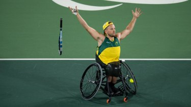 Australia's Dylan Alcott wins the gold medal in the quad singles wheelchair tennis gold medal match in Rio.