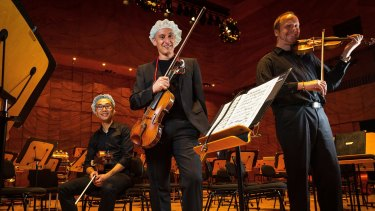 Members of the Corpus Medicorum orchestra  at the Melbourne Recital Centre. From left, Dr Gerry Ma, Phillip Antippa and Dr Bernd Merkel.