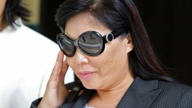 Helen Liu leaving the Sydney Supreme Court.