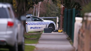 The scene in Moonee Ponds where an officer was shot in the head by criminals trying to flee police in 2015.