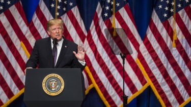 US President Donald Trump announcing his  national security strategy.