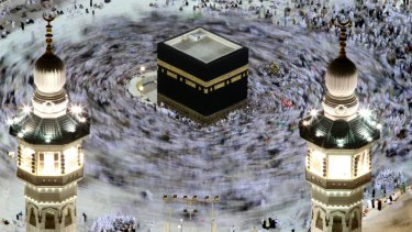 Tens of thousands of Muslim pilgrims move around the Kaaba inside the Grand Mosque during the annual Hajj in Mecca, Saudi Arabia.