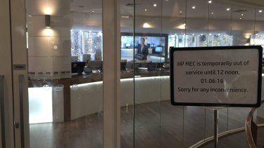 The Hewlett-Packard 'experience centre' at 234 Collins Street was closed on Wednesday morning after a man was stabbed.