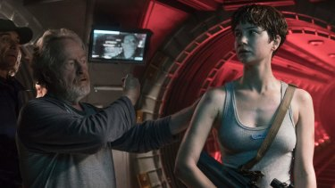 Ridley Scott with Katherine Waterston on the set of <i>Alien: Covenant</i>.