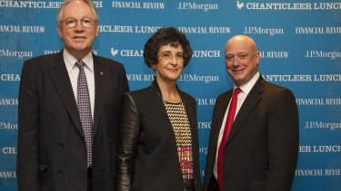 Sir Rod Eddington, Dr Nora Scheinkestel  and AGL's  Andrew Vesey at the AFR's Chanticleer lunch.