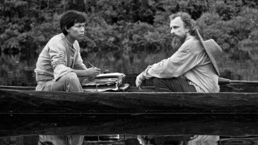Yauenku Migue (left) and Jan Bijvoet in <i>Embrace of the Serpent</i>.