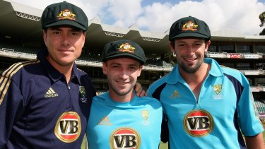 Great day: Marcus North, Phil Hughes and Ben Hilfenhaus after being presented with their Baggy Green Caps in Johannesburg in 2009.`