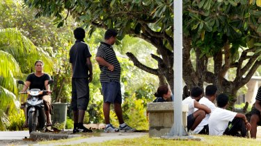 A file picture of asylum seekers on Nauru.