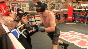 Boxers Jack Brubaker, right, and Davey Browne sparring in 2013.