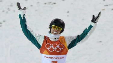 Up in the air: Laura Peel reacts after her crash.