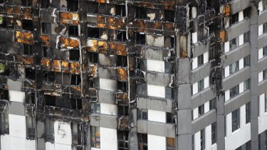 The burnt Grenfell Tower in London.
