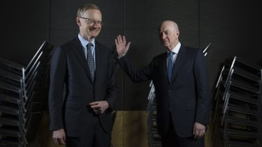RBA governor Glenn Stevens (right) bid farewell with unusually blunt advice. Can we expect more, and more forceful recommendations from successor Philip Lowe (left)?