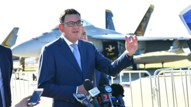 Premier Daniel Andrews, at the Avalon Airshow on Tuesday. He says Melton MP Don Nardella should repay money he claimed for living at Ocean Grove.