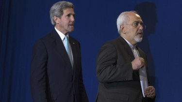 US Secretary of State John Kerry and Iranian Foreign Minister Mohammad Javad Zarif in Lausanne on April 2.