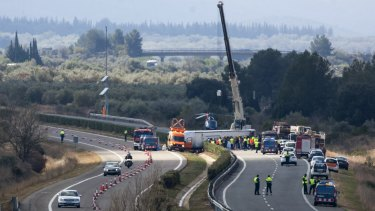 The AP7 highway that links Spain with France along the Mediterranean coast was blocked near Freginals, halfway between Valencia and Barcelona.