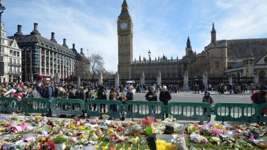 Tributes in Parliament Square for the those who lost their lives in the attack.