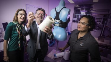 Smart bra: Professor Julie Steele (left) from the Biomechanics Research Laboratory, Professor Gordon Wallace and Dr Sheridan Gho at the Innovation Campus at the University of Wollongong.