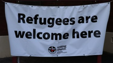 A sign at the Wesley Uniting church in East Maitland.