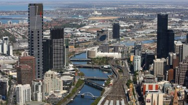 Melbourne CBD, right, and Southbank, left, which has one of the lowest vacancy rates in the country.