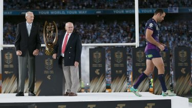 Tough day: Cam Smith leaves the stage after receiving his runners-up medal last season.