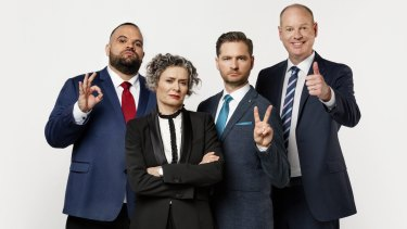 Lucy with her cast mates on The Weekly with Charlie Pickering (from left) Adam Briggs, Charlie Pickering and Tom Gleeson.