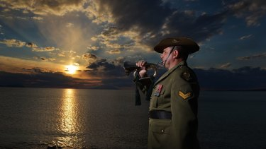 Getting ready: Andrew Barnett, who will play the bugle at the Anzac Day dawn service at Gallipoli.