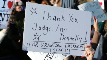 A sign acknowledging Judge Ann Donnelly, who granted a stay on Donald Trump's order blocking immigrants trying to reach the United States.