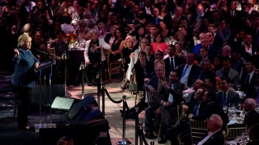 Hillary Clinton speaks at a LBGT For Hillary Gala in New York on Friday.
