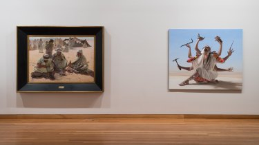 From left, Thomas Sheard's The Arab Blacksmith, c.1900, and Juan Ford's Inappropriator,  2018.