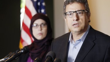 Muslim community leader Khalid Hamideh, right, and Ali Salem, Executive Director of Council on American-Islamic Relations, hold a news conference condemning the two gunmen who attempted to attack a contest for Muslim Prophet Muhammad cartoons.