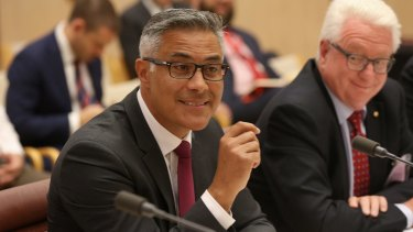 Ahmed Fahour and John Stanhope appeared before Senate Estimates in early 2017 to explain high salaries at the government-owned company.