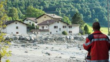 A landslide that hit the village Bondo in southern Switzerland.