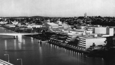 The Queensland Cultural Centre and Expo site evening on April 20, 1988.