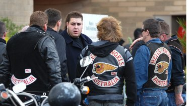Omar Chaouk with Hells Angels at the funeral of his father, Macchour Chaouk, in 2010.
