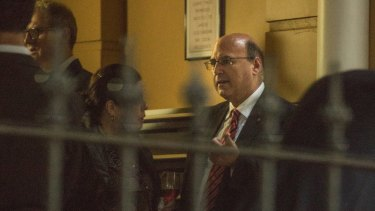 Liberal Senator Arthur Sinodinos arrives as the guest speaker at a Liberal Party fundraiser at Darren Taylor Catering, Kellet Street, Potts Point on Wednesday night.