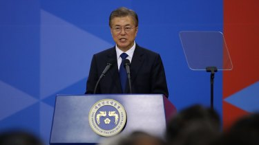 South Korea's new President Moon Jae-In speaks during his presidential inauguration ceremony on Wednesday.