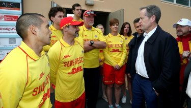 Opposition Leader Bill Shorten tours the storm-affected Coogee Surf Life Saving Club in Sydney.