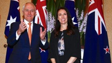 Australian Prime Minister Malcolm Turnbull and New Zealand Prime Minister Jacinda Ardern meet in Sydney, last year.