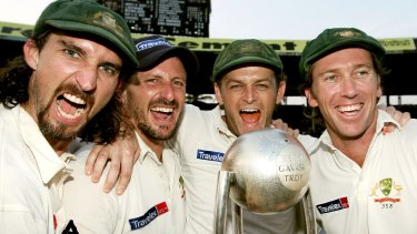 Rare occurrence: The Australians celebrate their series win in India in 2004.