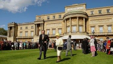 The Queen at a garden party on Thursday.