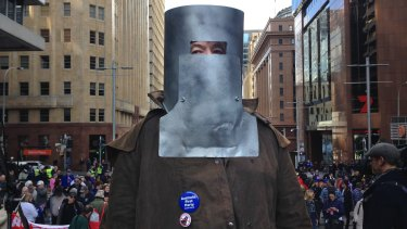 Victor Waterson dressed as Ned Kelly, at the Reclaim Australian Rally in Martin Place.