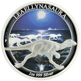 The coin featuring <i>Leaellynasaura amicagraphica</i>.