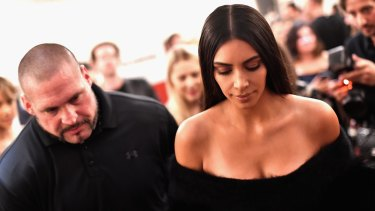 Kim Kardashian West with bodyguard Pascal Duvier in Paris on September 30, 2016, one week before the heist.