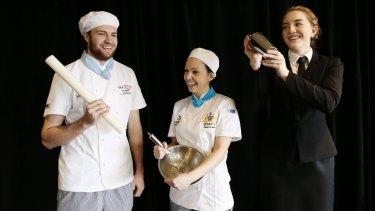Skillaroos from NSW John Reminis, baking, Adele Di Bella (patisserie) and Samantha Johnson (restaurant service).