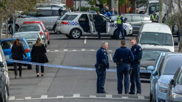 The scene of the drive-by shooting in Westbourne Grove, Northcote on Monday.