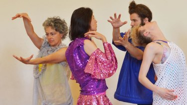 Shelley Lasica, choreographer (left) in her <i>Solos For Other People</i>.
