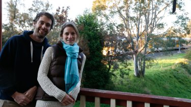 Simon Freeman and  Katie Watson-Jones are among the first people in Sydney whose house has been insulated by a new govt policy to help pay for noise insulation near train lines.