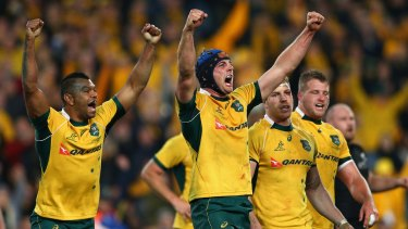 New skipper: Dean Mumm, centre, will captain the Wallabies against Uruguay in Sunday's World Cup match.