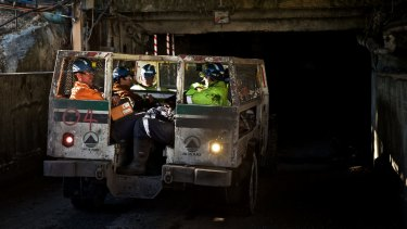 Springvale mine workers prepare to go underground at the start of a shift.