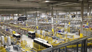 Things to come: Amazon's Leipzig centre ships 100,000 boxes a day.